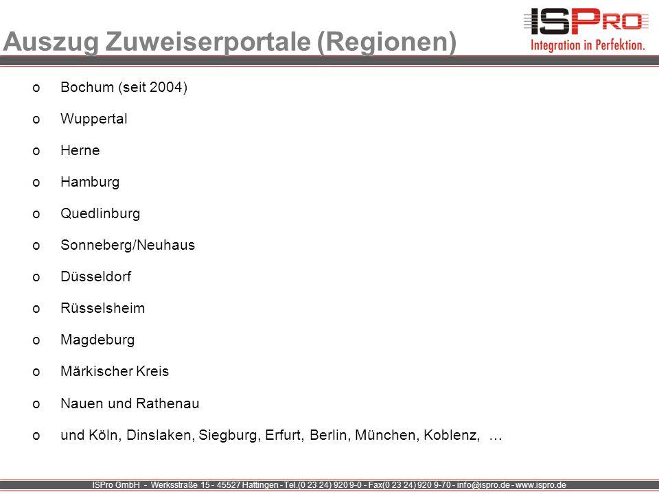 ISPro GmbH - Werksstraße 15 - 45527 Hattingen - Tel.(0 23 24) 920 9-0 - Fax(0 23 24) 920 9-70 - info@ispro.de - www.ispro.de Auszug Zuweiserportale (R