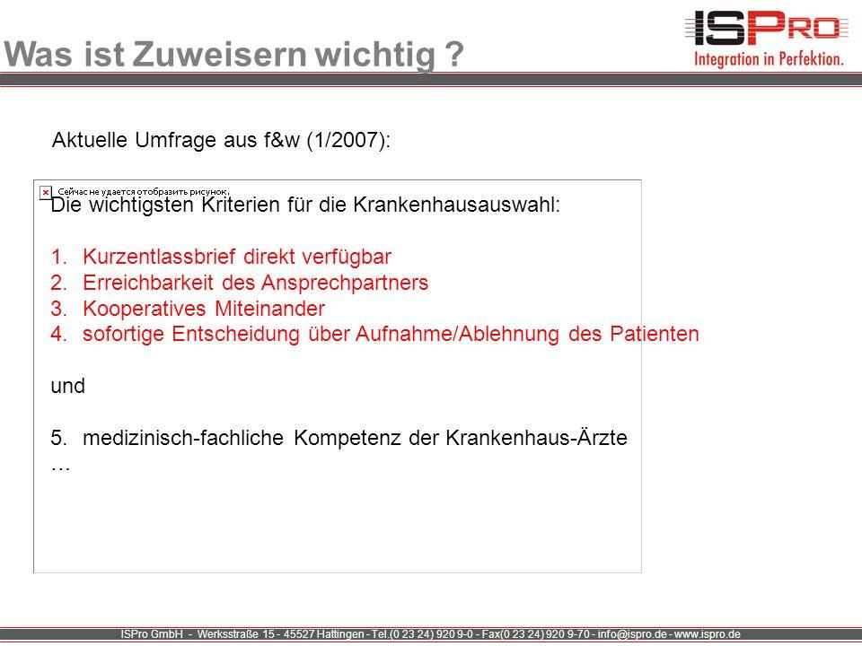 ISPro GmbH - Werksstraße 15 - 45527 Hattingen - Tel.(0 23 24) 920 9-0 - Fax(0 23 24) 920 9-70 - info@ispro.de - www.ispro.de Was ist Zuweisern wichtig