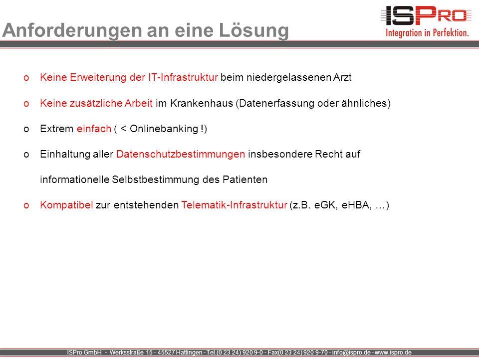 ISPro GmbH - Werksstraße 15 - 45527 Hattingen - Tel.(0 23 24) 920 9-0 - Fax(0 23 24) 920 9-70 - info@ispro.de - www.ispro.de Anforderungen an eine Lös