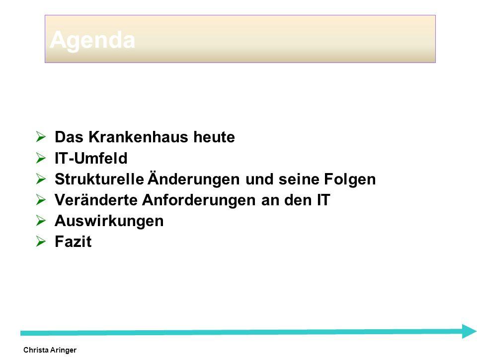 Christa Aringer Agenda Das Krankenhaus heute IT-Umfeld Strukturelle Änderungen und seine Folgen Veränderte Anforderungen an den IT Auswirkungen Fazit