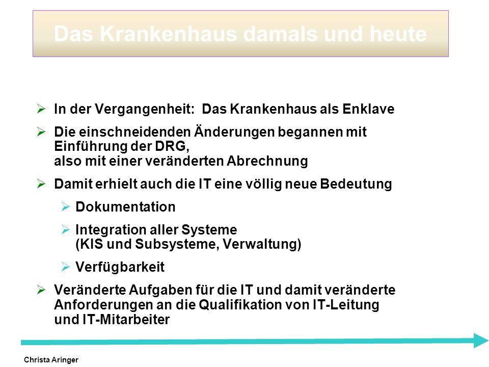 Christa Aringer Fazit Krankenhäuser ohne IT sind nicht mehr wettbewerbsfähig Die der Planung der Ausbaustufen und der intelligente Grad im Ausbau sind entscheidend für den Erfolg der IT und damit des Hauses IT ist nicht Selbstzweck sondern unterstützt die Geschäftsstrategie des Hauses