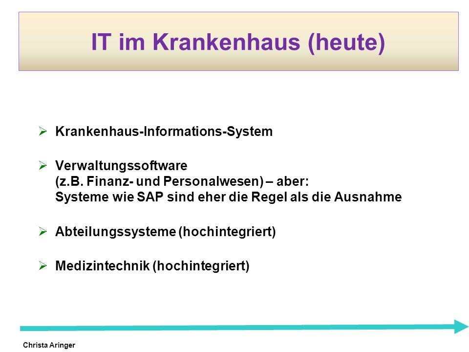 Christa Aringer IT im Krankenhaus (heute) Krankenhaus-Informations-System Verwaltungssoftware (z.B. Finanz- und Personalwesen) – aber: Systeme wie SAP
