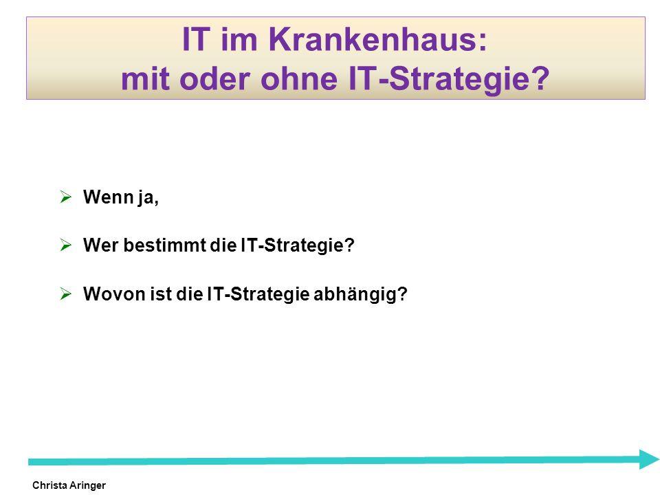 Christa Aringer IT im Krankenhaus: mit oder ohne IT-Strategie? Wenn ja, Wer bestimmt die IT-Strategie? Wovon ist die IT-Strategie abhängig?