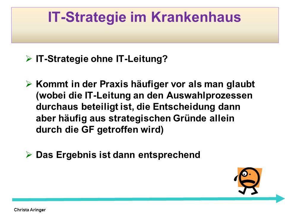Christa Aringer IT-Strategie im Krankenhaus IT-Strategie ohne IT-Leitung? Kommt in der Praxis häufiger vor als man glaubt (wobei die IT-Leitung an den