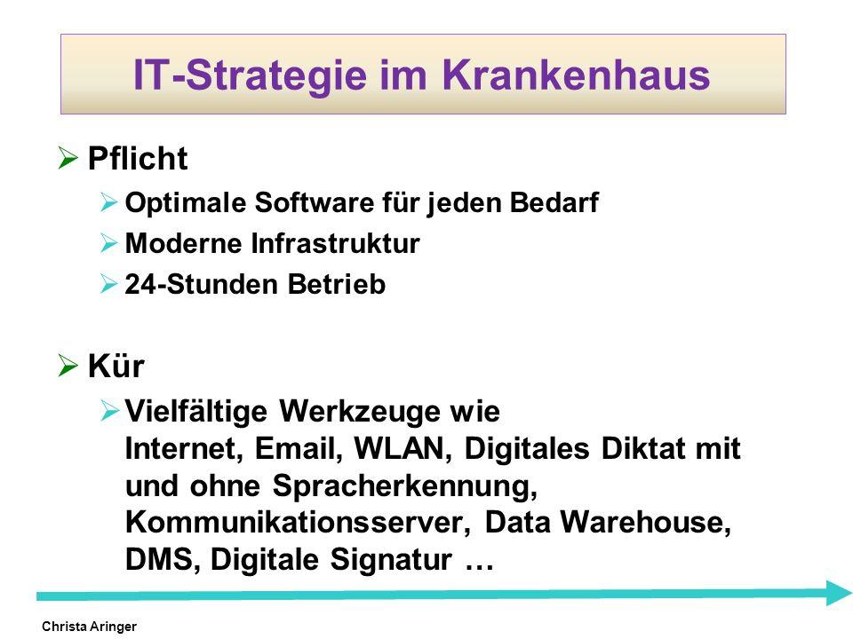 Christa Aringer IT-Strategie im Krankenhaus Pflicht Optimale Software für jeden Bedarf Moderne Infrastruktur 24-Stunden Betrieb Kür Vielfältige Werkze