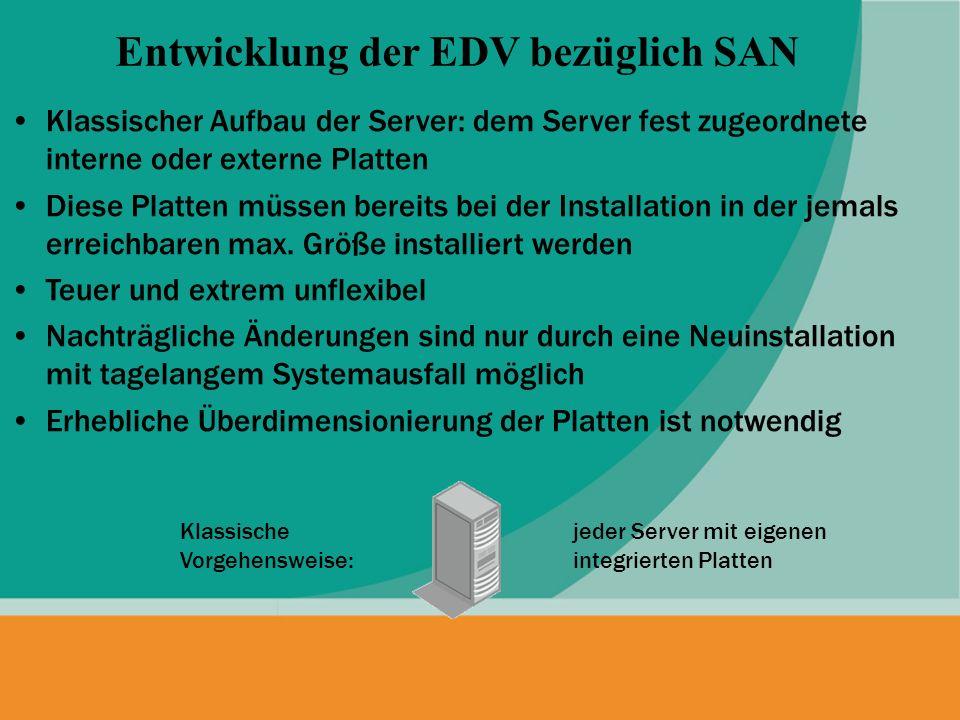 Klassischer Aufbau der Server: dem Server fest zugeordnete interne oder externe Platten Diese Platten müssen bereits bei der Installation in der jemal