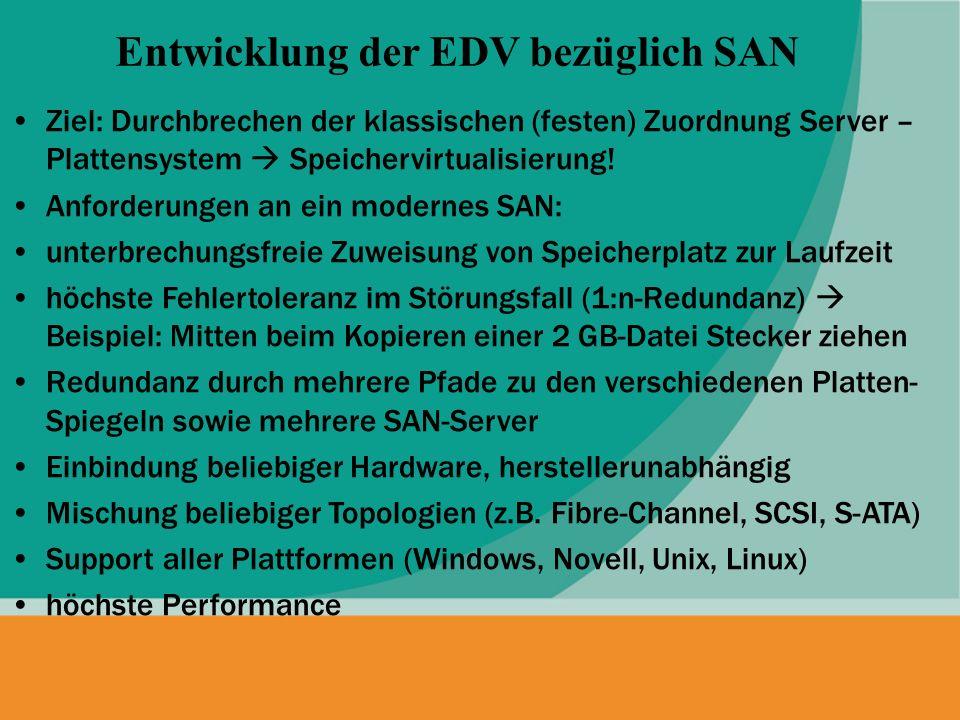 Ziel: Durchbrechen der klassischen (festen) Zuordnung Server – Plattensystem Speichervirtualisierung! Anforderungen an ein modernes SAN: unterbrechung
