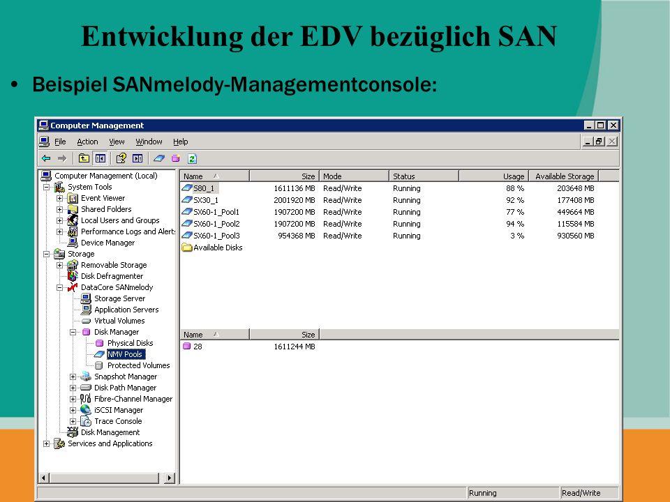 Beispiel SANmelody-Managementconsole: Entwicklung der EDV bezüglich SAN