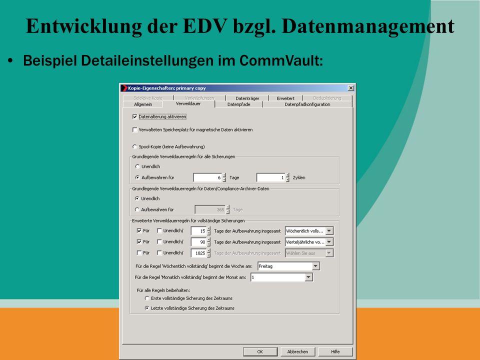 Beispiel Detaileinstellungen im CommVault: Entwicklung der EDV bzgl. Datenmanagement