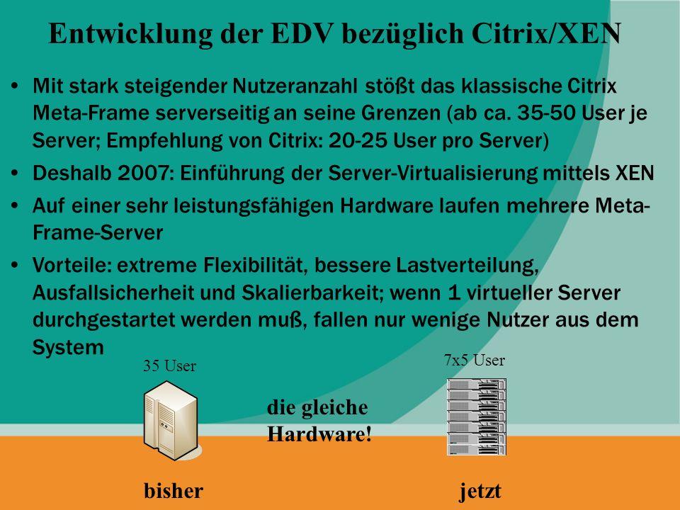 Mit stark steigender Nutzeranzahl stößt das klassische Citrix Meta-Frame serverseitig an seine Grenzen (ab ca. 35-50 User je Server; Empfehlung von Ci