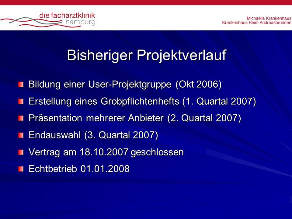 Bisheriger Projektverlauf Bildung einer User-Projektgruppe (Okt 2006) Erstellung eines Grobpflichtenhefts (1. Quartal 2007) Präsentation mehrerer Anbi