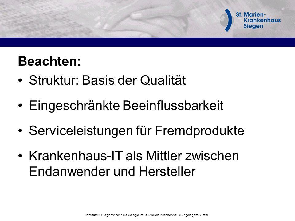 Institut für Diagnostische Radiologie im St. Marien-Krankenhaus Siegen gem. GmbH Beachten: Struktur: Basis der Qualität Eingeschränkte Beeinflussbarke