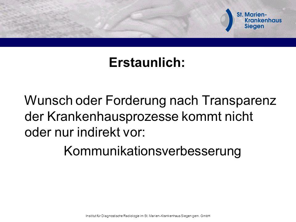 Institut für Diagnostische Radiologie im St. Marien-Krankenhaus Siegen gem. GmbH Erstaunlich: Wunsch oder Forderung nach Transparenz der Krankenhauspr