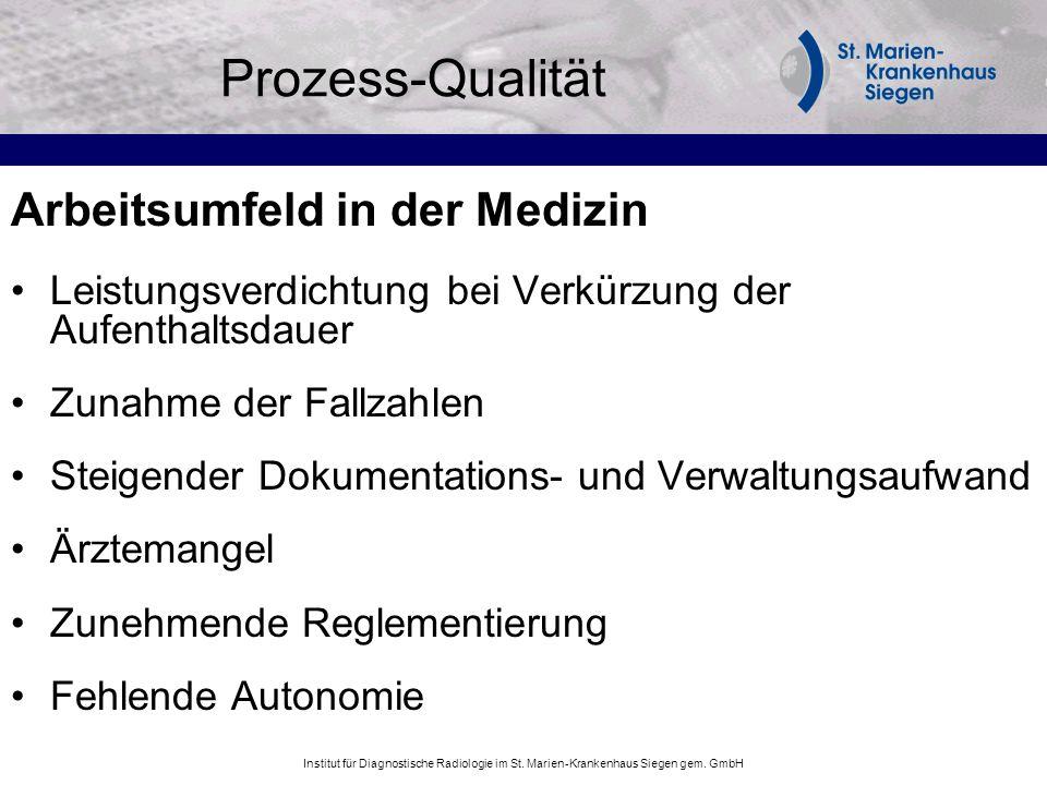 Institut für Diagnostische Radiologie im St. Marien-Krankenhaus Siegen gem. GmbH Prozess-Qualität Arbeitsumfeld in der Medizin Leistungsverdichtung be