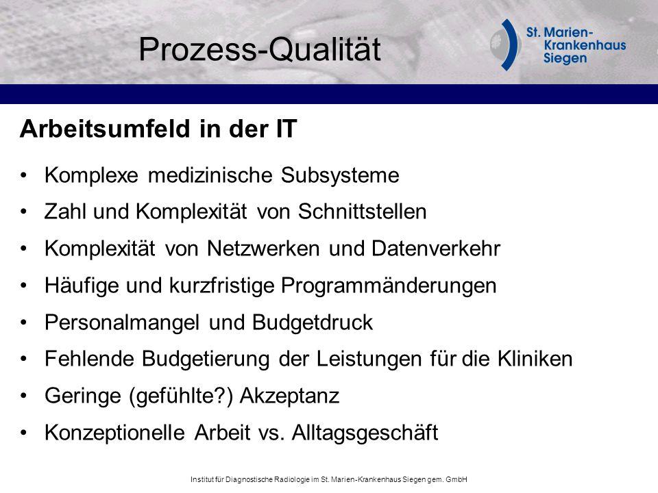 Prozess-Qualität Arbeitsumfeld in der IT Komplexe medizinische Subsysteme Zahl und Komplexität von Schnittstellen Komplexität von Netzwerken und Daten