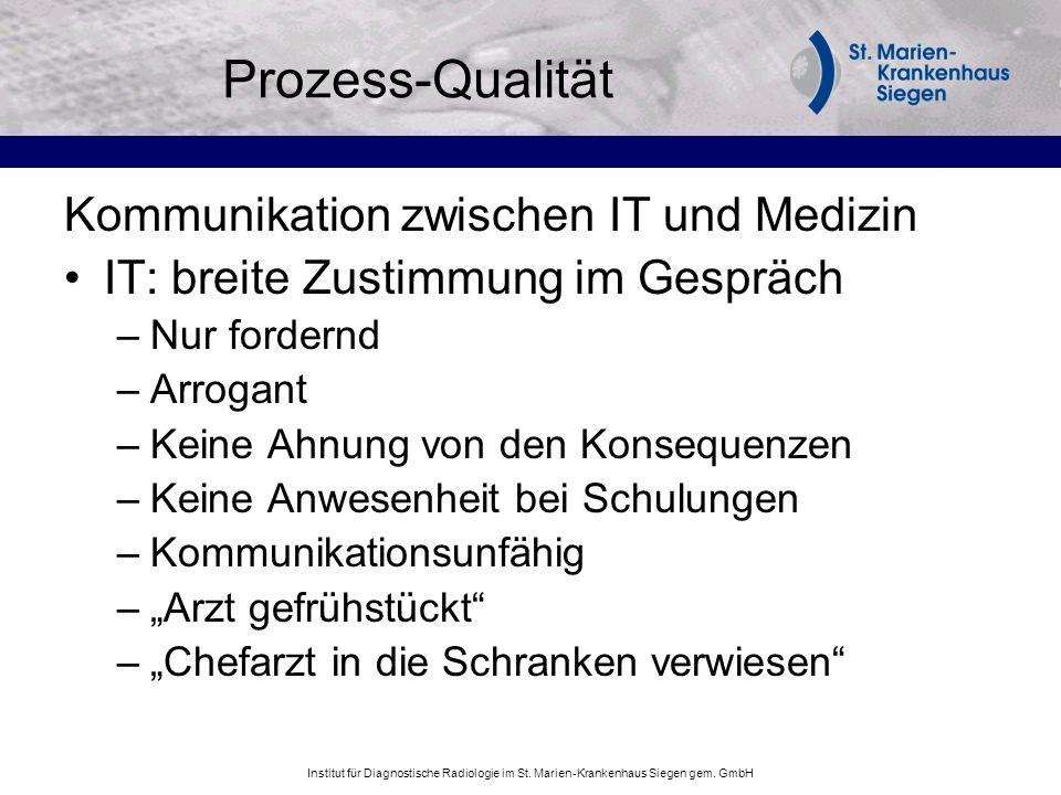Prozess-Qualität Kommunikation zwischen IT und Medizin IT: breite Zustimmung im Gespräch –Nur fordernd –Arrogant –Keine Ahnung von den Konsequenzen –K