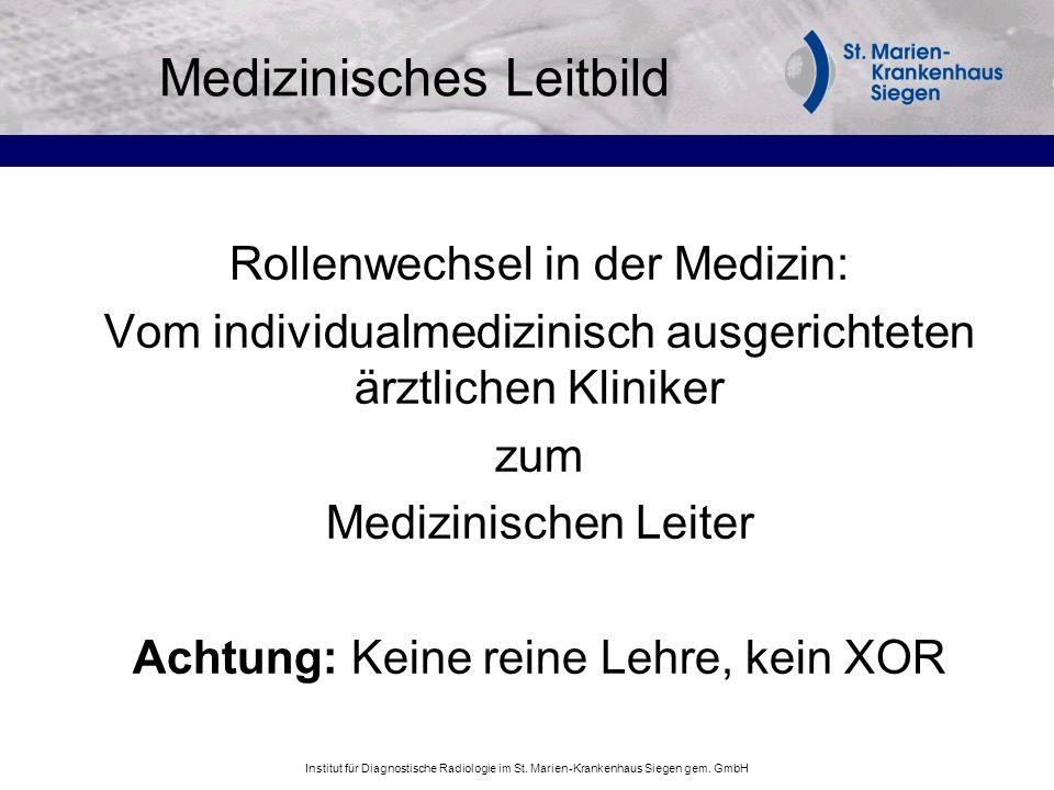 Institut für Diagnostische Radiologie im St. Marien-Krankenhaus Siegen gem. GmbH Medizinisches Leitbild Rollenwechsel in der Medizin: Vom individualme