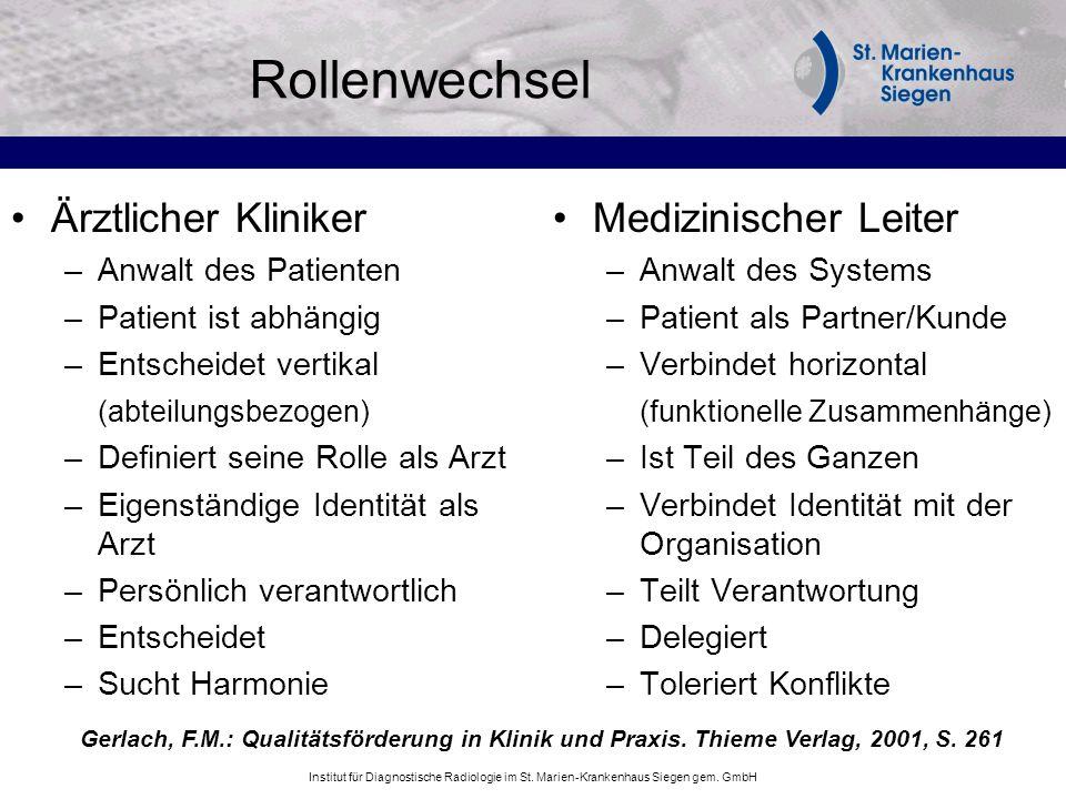Institut für Diagnostische Radiologie im St. Marien-Krankenhaus Siegen gem. GmbH Rollenwechsel Ärztlicher Kliniker –Anwalt des Patienten –Patient ist