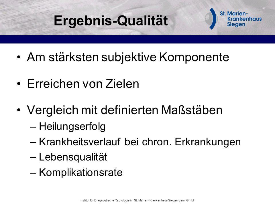 Institut für Diagnostische Radiologie im St. Marien-Krankenhaus Siegen gem. GmbH Ergebnis-Qualität Am stärksten subjektive Komponente Erreichen von Zi