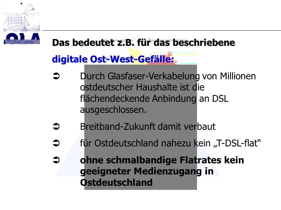 Das bedeutet z.B. für das beschriebene digitale Ost-West-Gefälle: Durch Glasfaser-Verkabelung von Millionen ostdeutscher Haushalte ist die flächendeck
