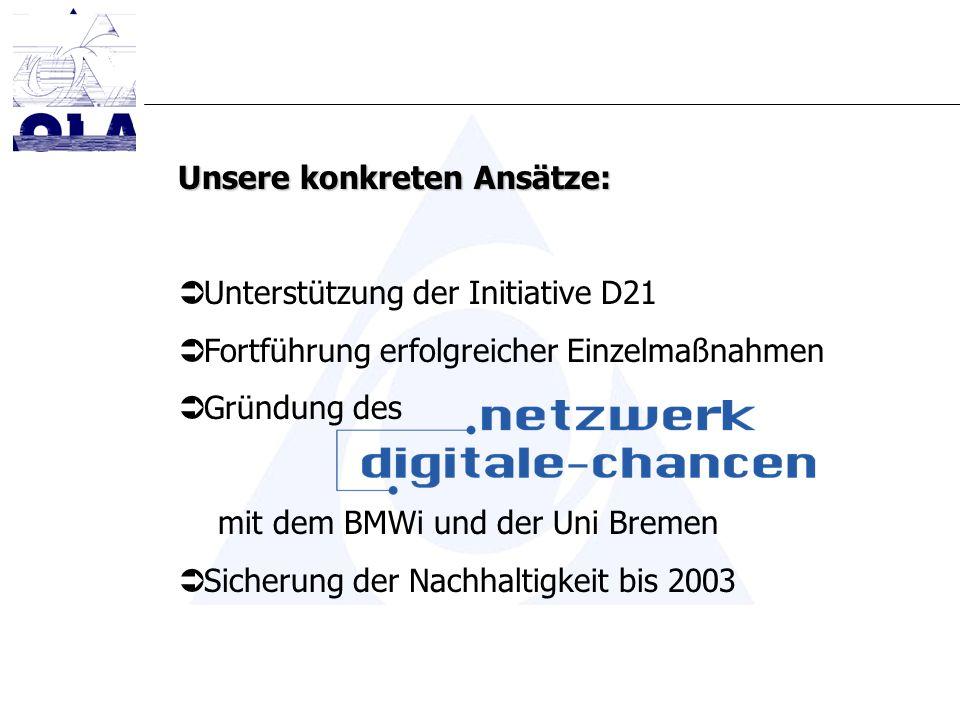Unsere konkreten Ansätze: Unterstützung der Initiative D21 Fortführung erfolgreicher Einzelmaßnahmen Gründung des mit dem BMWi und der Uni Bremen Sicherung der Nachhaltigkeit bis 2003