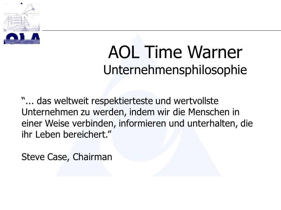 AOL Time Warner Unternehmensphilosophie... das weltweit respektierteste und wertvollste Unternehmen zu werden, indem wir die Menschen in einer Weise v