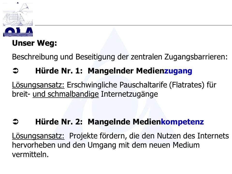 Unser Weg: Beschreibung und Beseitigung der zentralen Zugangsbarrieren: Hürde Nr. 1: Mangelnder Medienzugang Lösungsansatz: Erschwingliche Pauschaltar
