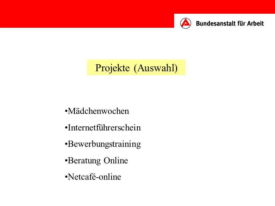 Projekte (Auswahl) Mädchenwochen Internetführerschein Bewerbungstraining Beratung Online Netcafé-online