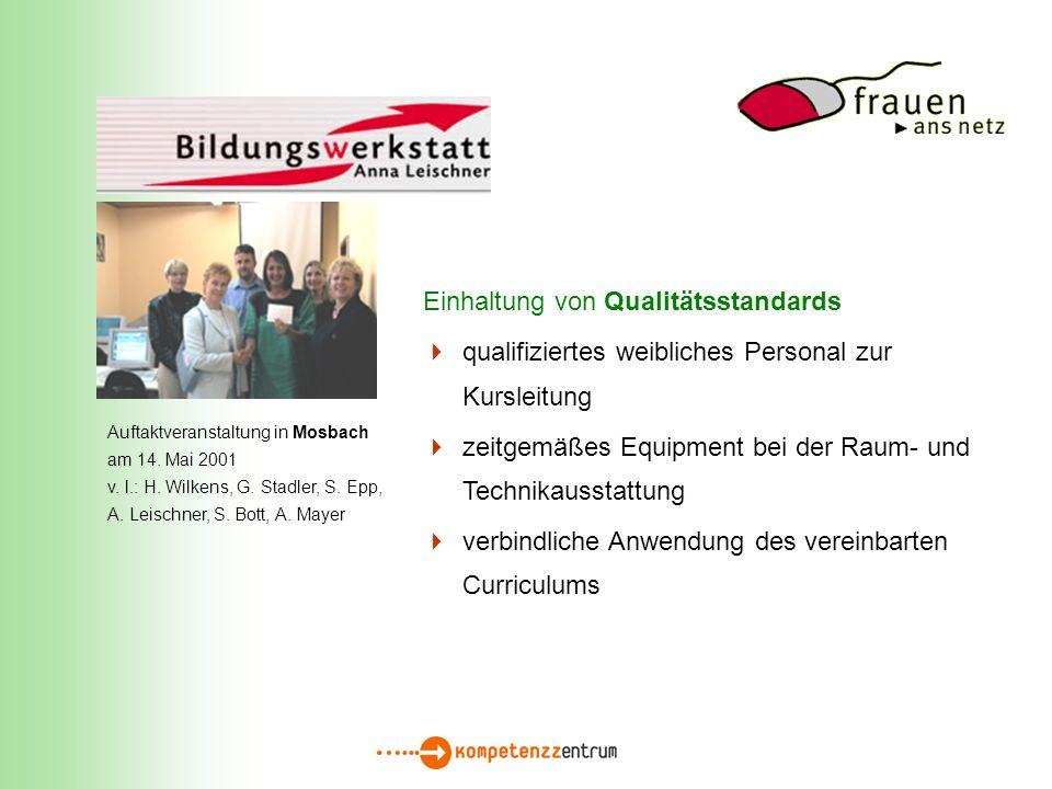 Einhaltung von Qualitätsstandards qualifiziertes weibliches Personal zur Kursleitung zeitgemäßes Equipment bei der Raum- und Technikausstattung verbindliche Anwendung des vereinbarten Curriculums Auftaktveranstaltung in Mosbach am 14.