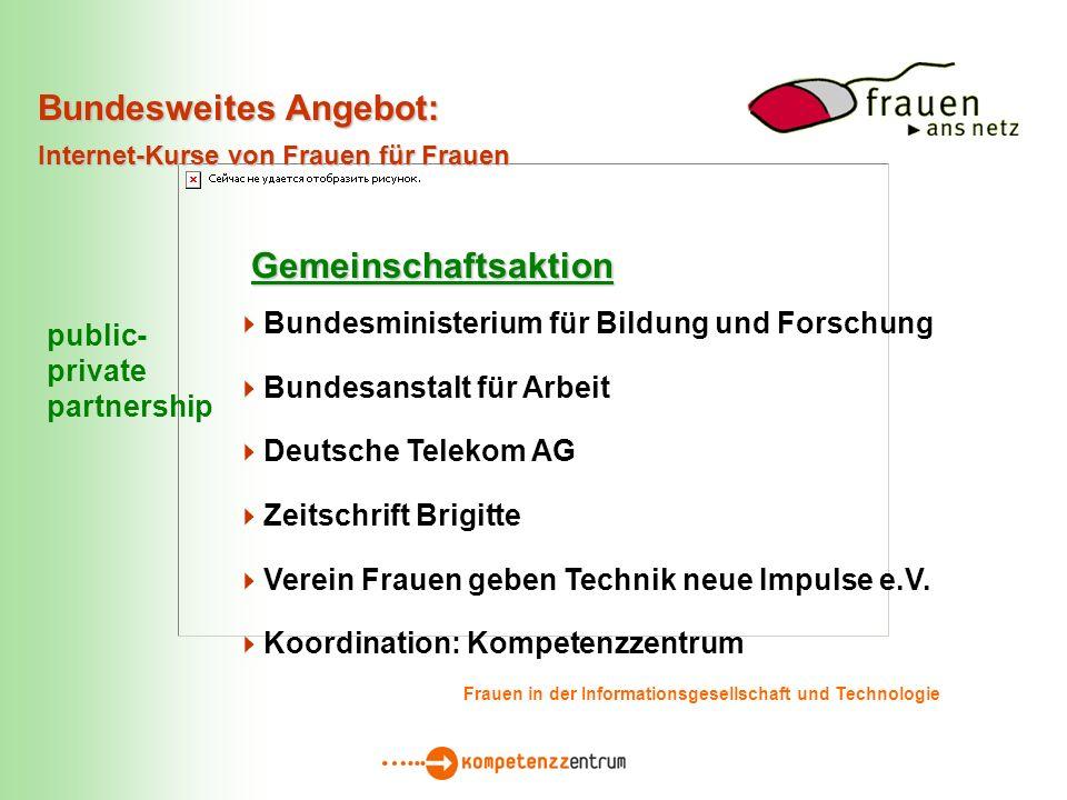 Bundesministerium für Bildung und Forschung Bundesanstalt für Arbeit Deutsche Telekom AG Zeitschrift Brigitte Verein Frauen geben Technik neue Impulse e.V.