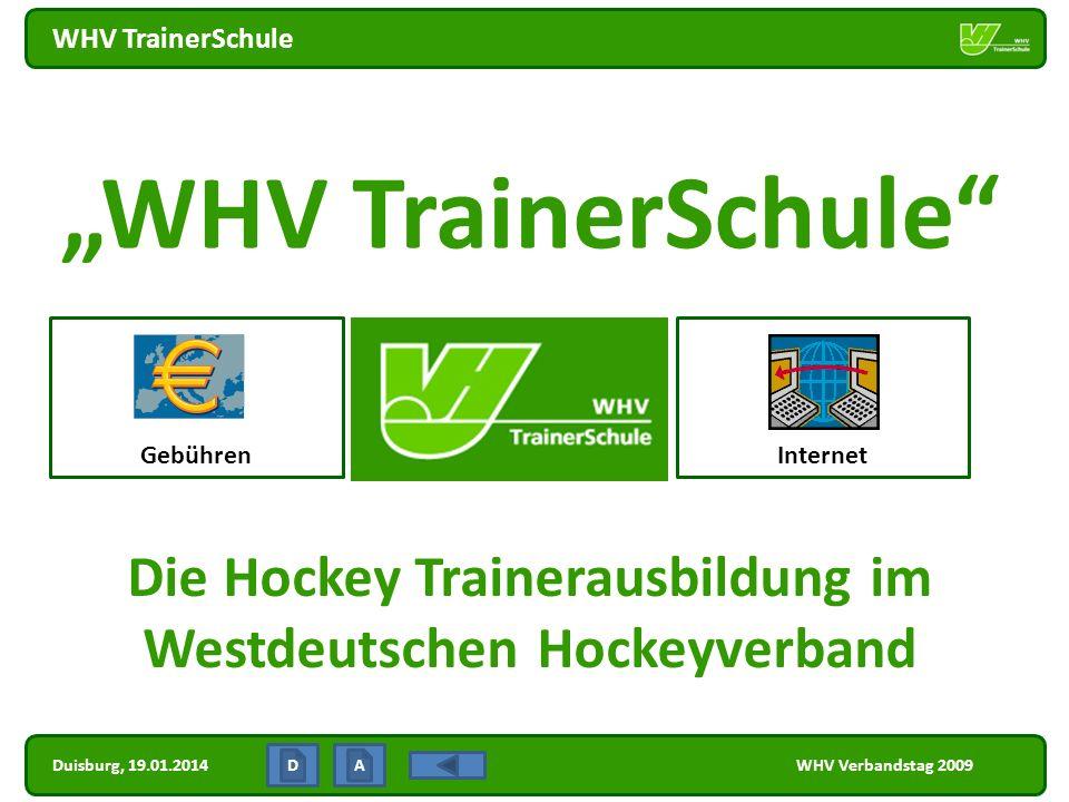 Duisburg, 19.01.2014 WHV TrainerSchule WHV Verbandstag 2009 - Internet K+I WHV TS Nachrichten LIZENZEN TrainerAssistent Trainer C Trainer B Trainer A Fortbildung AUSBILDUNG ZUM...