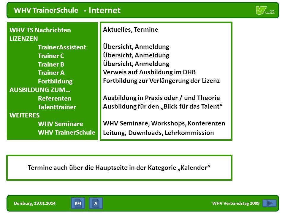 Duisburg, 19.01.2014 WHV TrainerSchule WHV Verbandstag 2009 - Internet K+I WHV TS Nachrichten LIZENZEN TrainerAssistent Trainer C Trainer B Trainer A