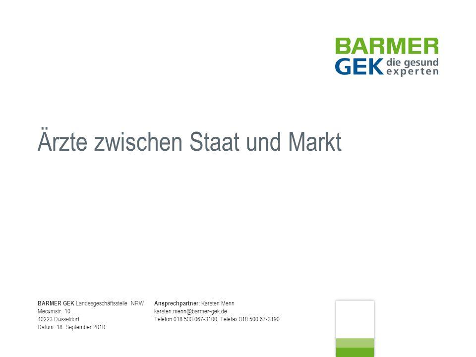 Ärzte zwischen Staat und Markt Karsten Menn, BARMER GEK Landesgeschäftsstelle NRW 18.09.10 Seite 12 Die Erfolgsmessung gegen die Regelversorgung kann nicht mit einem prä-/post-Vergleich erfolgen, sondern muss gegen eine im gleichen Vertragszeitraum behandelte Vergleichspopulation gemessen werden, um z.B.