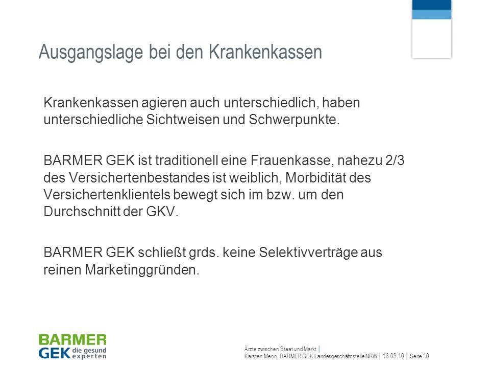 Ärzte zwischen Staat und Markt Karsten Menn, BARMER GEK Landesgeschäftsstelle NRW 18.09.10 Seite 10 Ausgangslage bei den Krankenkassen Krankenkassen a