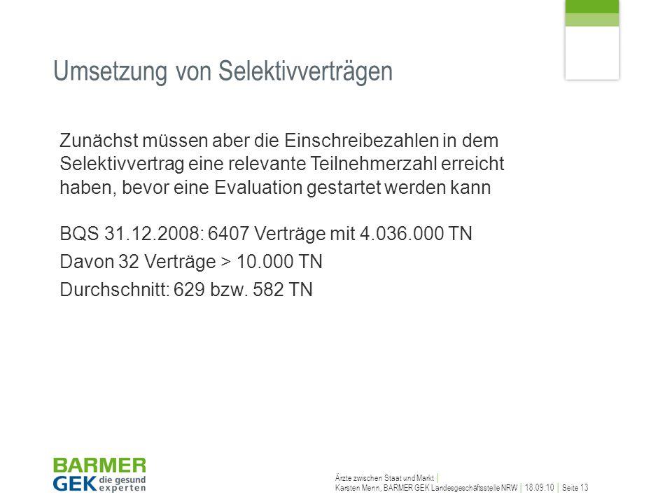 Ärzte zwischen Staat und Markt Karsten Menn, BARMER GEK Landesgeschäftsstelle NRW 18.09.10 Seite 13 Zunächst müssen aber die Einschreibezahlen in dem