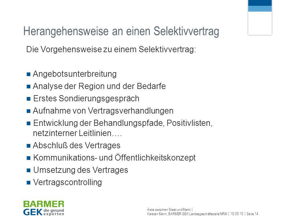 Ärzte zwischen Staat und Markt Karsten Menn, BARMER GEK Landesgeschäftsstelle NRW 18.09.10 Seite 14 Die Vorgehensweise zu einem Selektivvertrag: Angeb