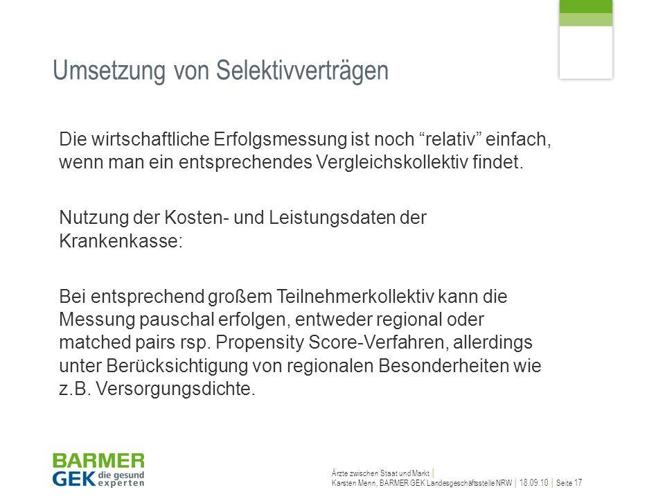 Ärzte zwischen Staat und Markt Karsten Menn, BARMER GEK Landesgeschäftsstelle NRW 18.09.10 Seite 17 Die wirtschaftliche Erfolgsmessung ist noch relati