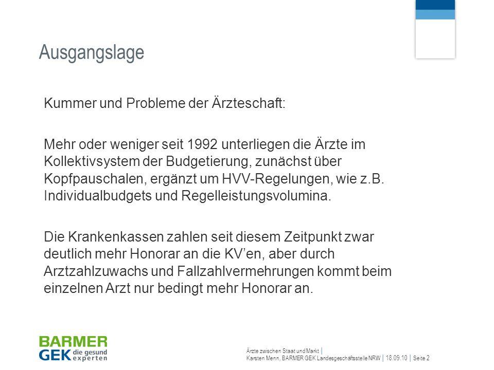 Karsten Menn, BARMER GEK Landesgeschäftsstelle NRW 18.09.10 Seite 2 Ausgangslage Kummer und Probleme der Ärzteschaft: Mehr oder weniger seit 1992 unte