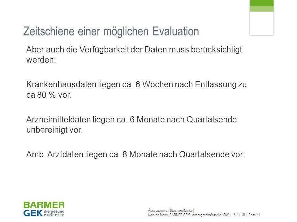 Ärzte zwischen Staat und Markt Karsten Menn, BARMER GEK Landesgeschäftsstelle NRW 18.09.10 Seite 21 Zeitschiene einer möglichen Evaluation Aber auch d