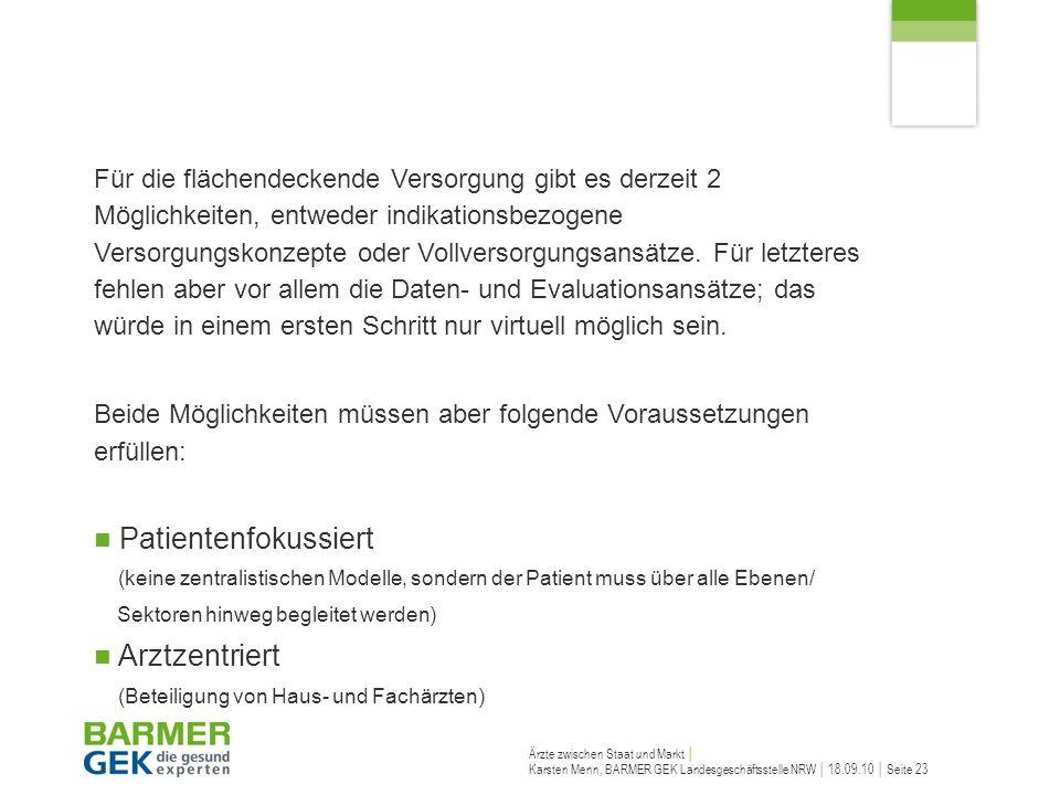 Ärzte zwischen Staat und Markt Karsten Menn, BARMER GEK Landesgeschäftsstelle NRW 18.09.10 Seite 23 Für die flächendeckende Versorgung gibt es derzeit