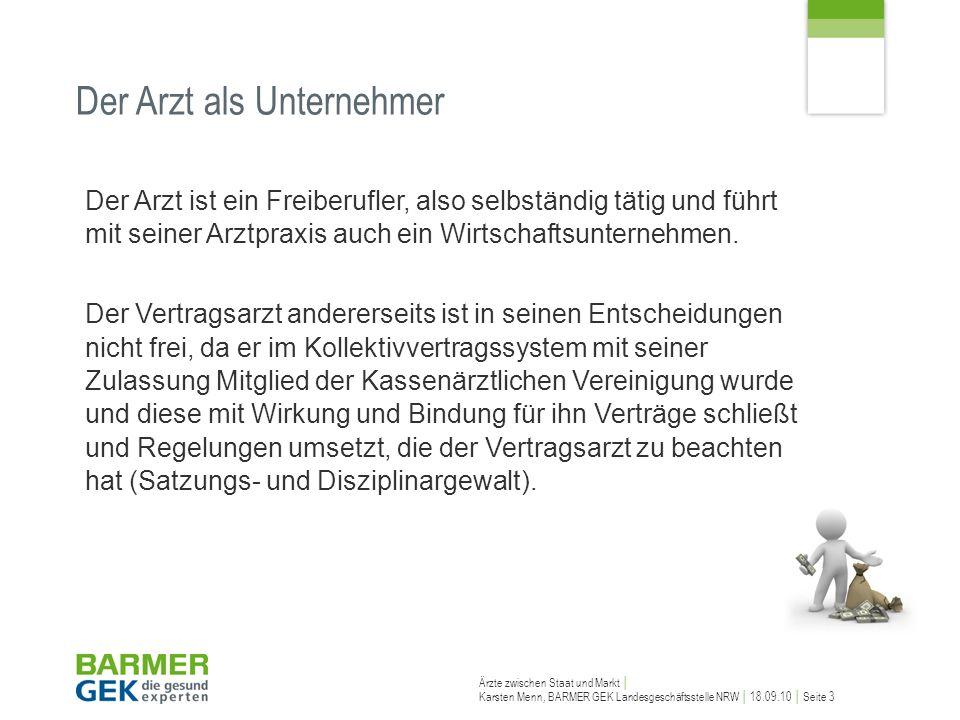 Ärzte zwischen Staat und Markt Karsten Menn, BARMER GEK Landesgeschäftsstelle NRW 18.09.10 Seite 3 Der Arzt ist ein Freiberufler, also selbständig tät