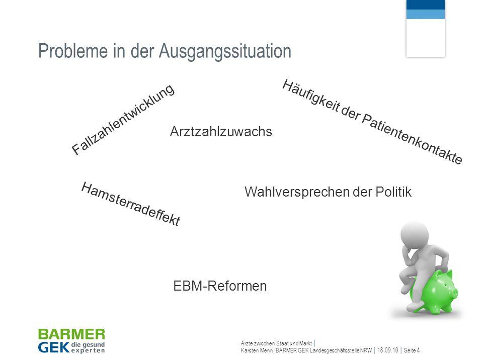 Ärzte zwischen Staat und Markt Karsten Menn, BARMER GEK Landesgeschäftsstelle NRW 18.09.10 Seite 4 Probleme in der Ausgangssituation Hamsterradeffekt