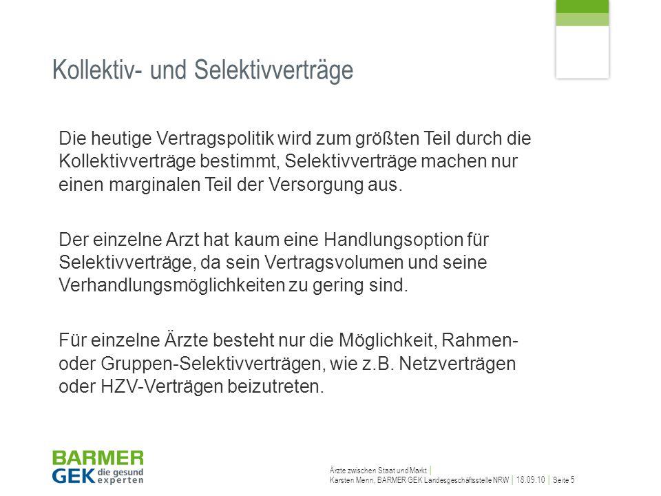 Ärzte zwischen Staat und Markt Karsten Menn, BARMER GEK Landesgeschäftsstelle NRW 18.09.10 Seite 5 Die heutige Vertragspolitik wird zum größten Teil d