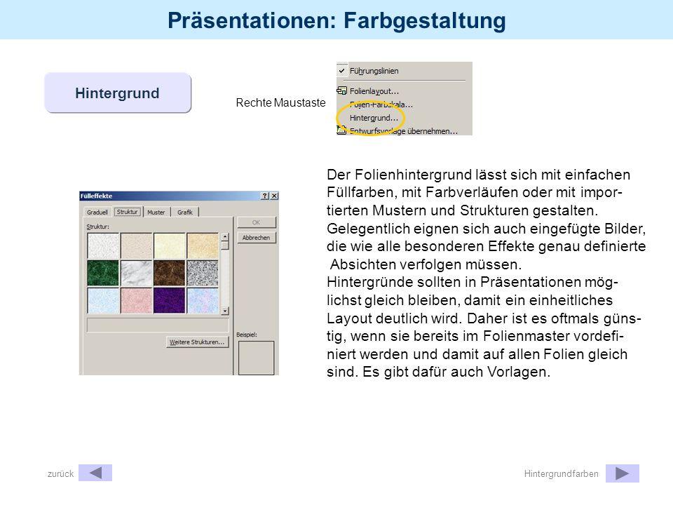Präsentationen: Farbgestaltung Rechte Maustaste Hintergrund Der Folienhintergrund lässt sich mit einfachen Füllfarben, mit Farbverläufen oder mit impo