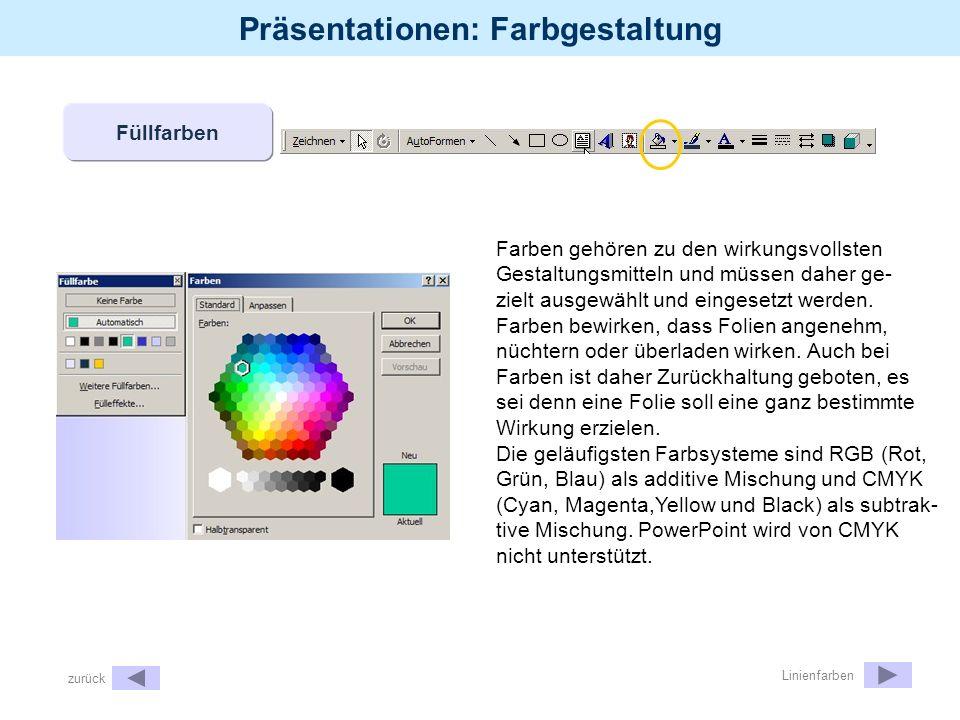 Präsentationen: Farbgestaltung Füllfarben Farben gehören zu den wirkungsvollsten Gestaltungsmitteln und müssen daher ge- zielt ausgewählt und eingeset