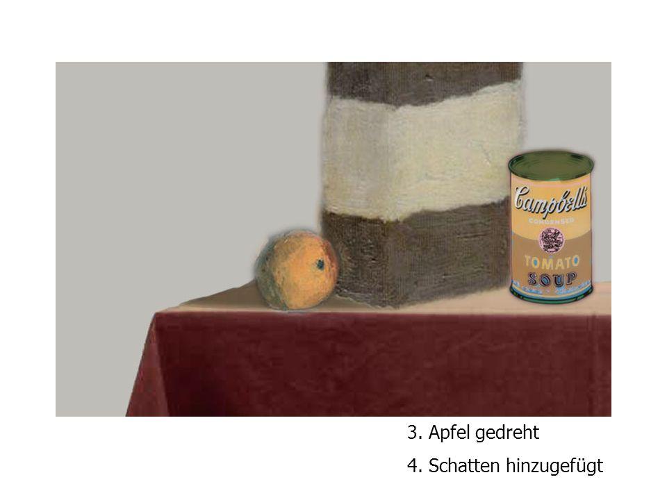 3. Apfel gedreht 4. Schatten hinzugefügt