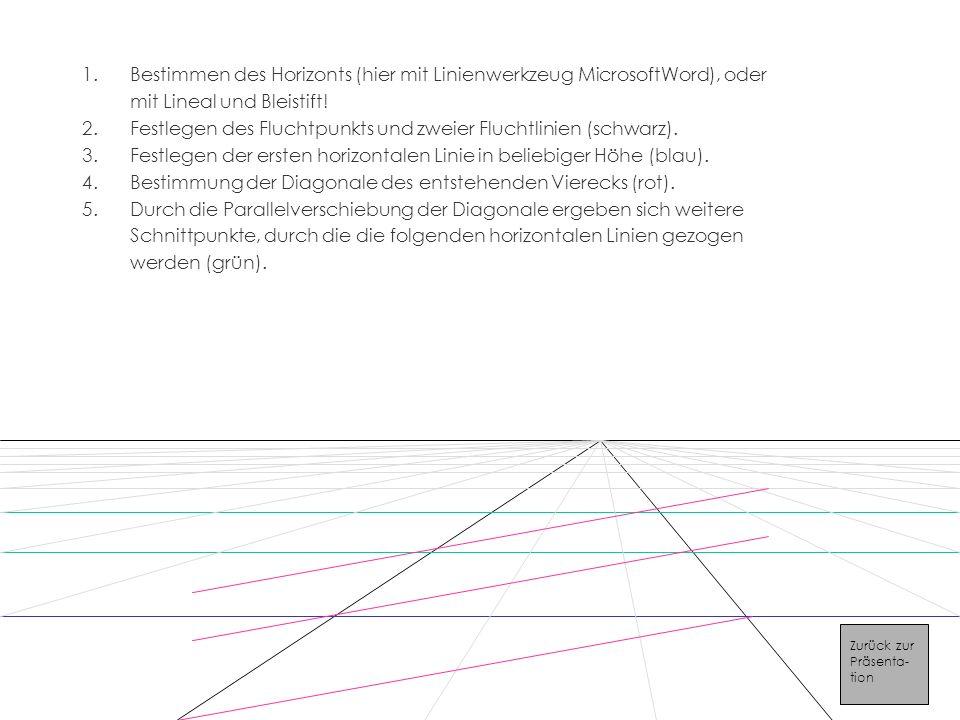 1.Bestimmen des Horizonts (hier mit Linienwerkzeug MicrosoftWord), oder mit Lineal und Bleistift.