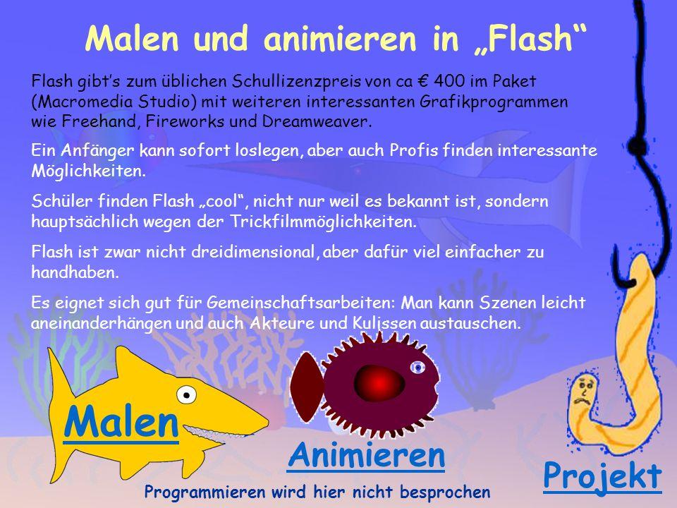 Malen und animieren in Flash Flash gibts zum üblichen Schullizenzpreis von ca 400 im Paket (Macromedia Studio) mit weiteren interessanten Grafikprogrammen wie Freehand, Fireworks und Dreamweaver.