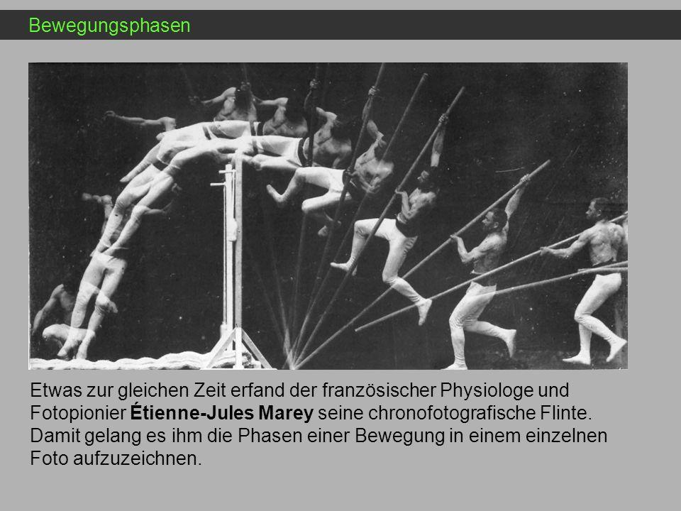 Bewegungsphasen Etwas zur gleichen Zeit erfand der französischer Physiologe und Fotopionier Étienne-Jules Marey seine chronofotografische Flinte. Dami
