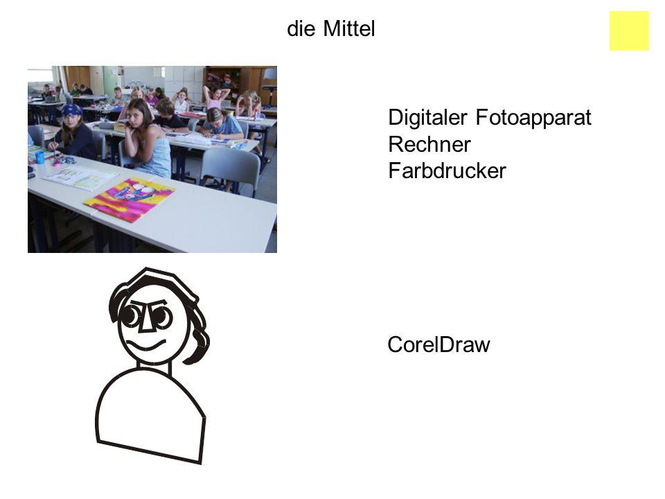 die Mittel Digitaler Fotoapparat Rechner Farbdrucker CorelDraw
